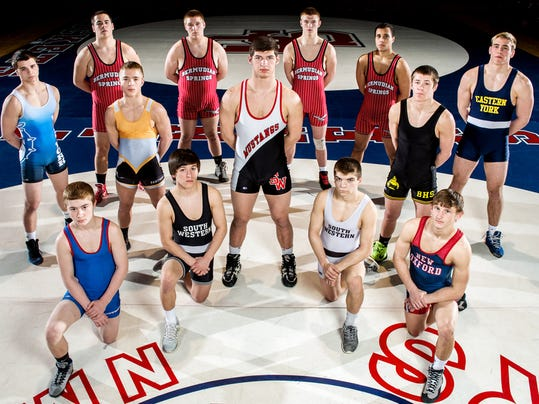 GameTimePA.com's first-team wrestling all-stars are, from left, front row: Spring Grove's Dalton Rohrbaugh, South Western's Derek Wilson, South Western's Owen Wherley and New Oxford's Zurich Storm; center row: Central York's Dylan Chatterton, South Western's Seth Janney and Biglerville's Nate Newberry; and back row: West York's Garrett Stauffer, Bermudian Springs' Sam McCollum, Bermudian Springs' Brady Linebaugh, Bermudian Springs' Colton Dull, Bermudian Springs' Briton Shelton and Eastern York's Lucas Barshinger.