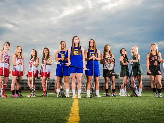 The GameTimePA.com YAIAA girls' lacrosse first-team all-stars are, from left:  Susquehannock players Katelyn Welch, Rachel Marshner, Ashley Valway and Haley Martinez; Kennard-Dale players Brooke Davis, Morgan Day and Lyndsey Duty; South Western's Laura Silver; York Catholic players Maura Palandro and Shannon Moore; and Central York's Addison Billings. Not pictured is New Oxford's Braxtin Reddinger.