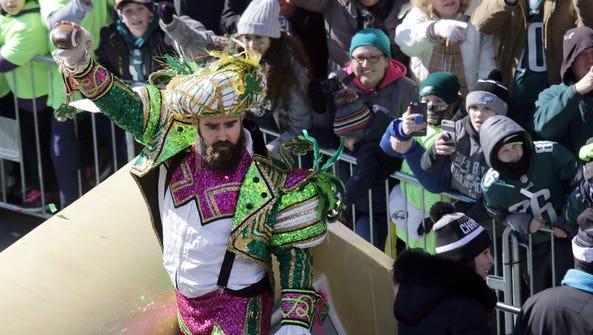 Philadelphia Eagles center Jason Kelce celebrates their