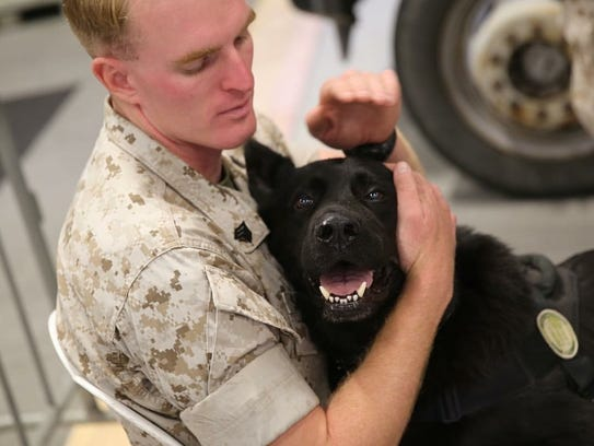 Largo and his last handler in the Marine Corps, Chris