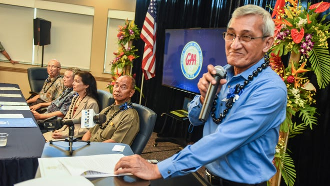 John Benavente, Guam Power Authority general manager, becomes emotional as he thanks and acknowledges the dedication of the agency's employees during a proclamation signing ceremony at the Gloria B. Nelson Public Facility in Mangilao on Tuesday, May 8, 2018. At the event, Gov. Eddie Calvo signed a proclamation to celebrate the 50th anniversary of the agency's ability to provide power to the people of the island.