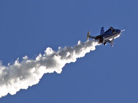"""Stuntman Eddie Braun flies the """"Evel Spirit"""" rocket"""