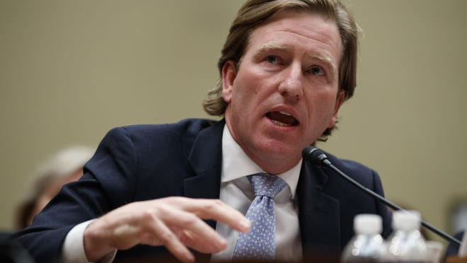 In this May 22, 2019, file photo, Christopher Krebs, director of the Cybersecurity and Infrastructure Security Agency, testifies on Capitol Hill in Washington. President Donald Trump on Tuesday, Nov. 17, 2020, fired Krebs, the director of the federal agency that vouched for the reliability of the 2020 election.