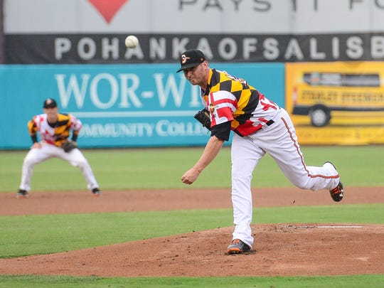 Baltimore Orioles pitcher Zach Britton makes a rehab start for the Delmarva Shorebirds on Thursday, June 22, 2017 at Perdue Stadium against the Lakewood BlueClaws.