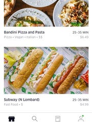 UberEATS lists restaurants in the user's delivery range, as well as cost and estimated delivery time.