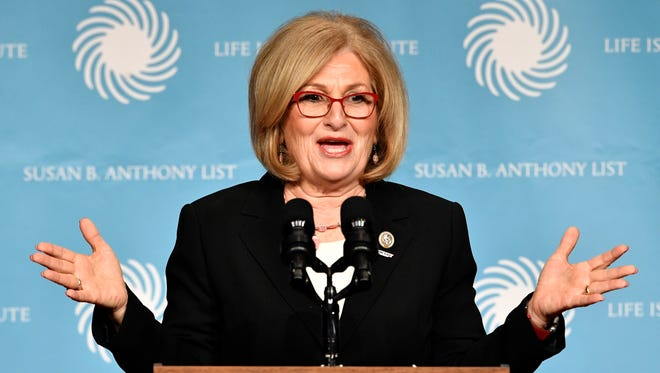 U.S. Rep. Diane Black speaks before the appearance by Vice President Mike Pence  at the Susan B. Anthony List & Life Institute Luncheon Tuesday Feb. 27, 2018, in Nashville, Tenn.