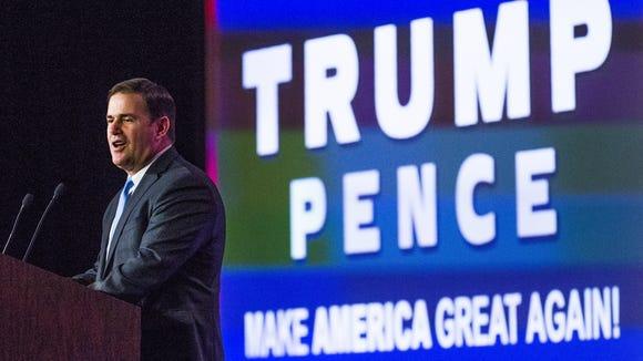 Arizona Gov. Doug Ducey addresses a Trump-Pence rally at the Mesa Convention Center on Nov. 2, 2016.