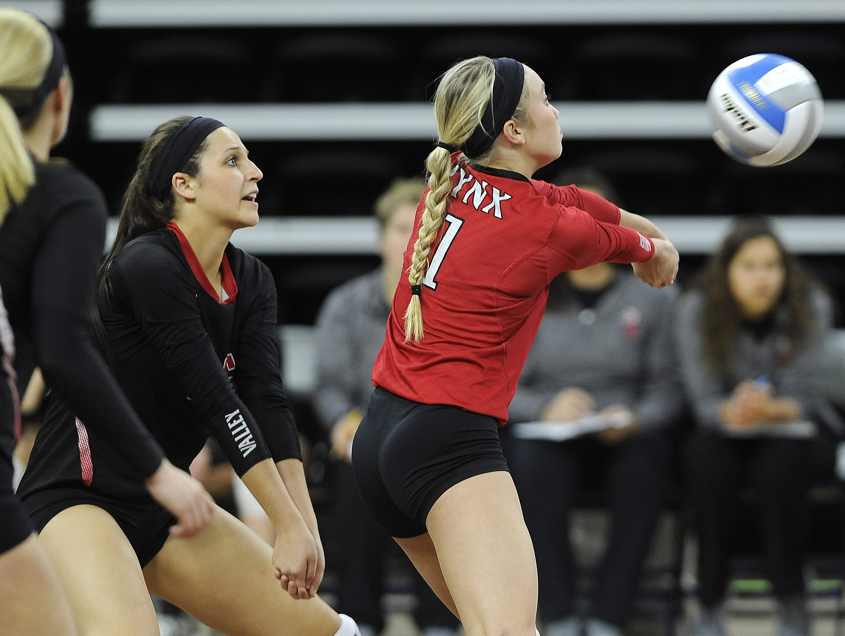 Brandon Valley's #1 Taylor Thorson bumps the volleyball against Roosevelt during state volleyball action at the Denny Sanford Premier Center in Sioux Falls, S.D., Thursday, Nov. 19, 2015.