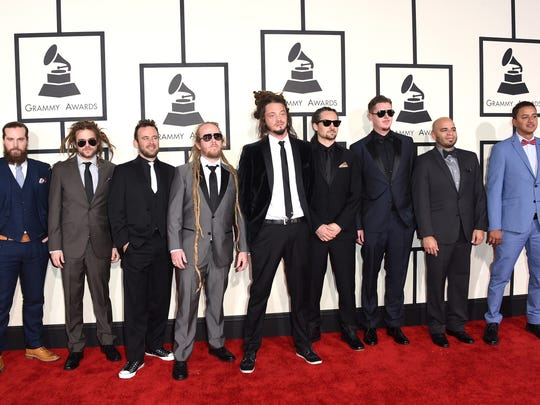 Trevor Young (second from left) and SOJA at the Grammy Awards in February.