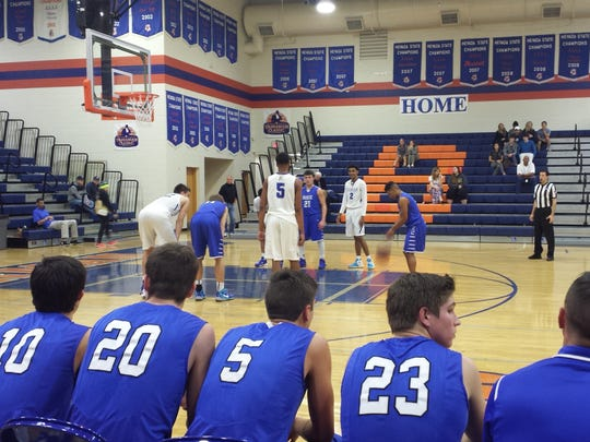 Dixie's Malachi Otis attempts a free throw during the third quarter. The Flyers fell 71-52 to Bishop Gorman (NV) in a non-conference showdown Saturday afternoon.
