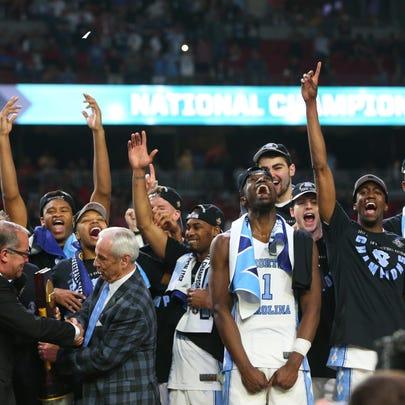 North Carolina celebrates winning the NCAA National