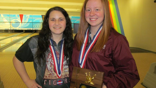 Hardin County junior Ashley Channell (right) won the individual state bowling championship, while senior Summer Napper (left) finished fourth.