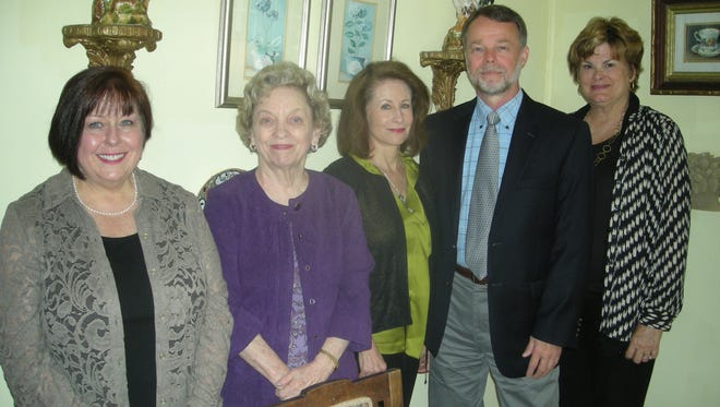 Jimmy Dobbs, executive director of Agape, (second from right) was a special guest of The Mothers' Roundtable, as the organization celebrated its 100th Anniversary. Welcoming him during the Centennial Luncheon were, from left, Harriett Hutcheson, Betsy Arnold, Diane Williams and Ginny Cumbus.