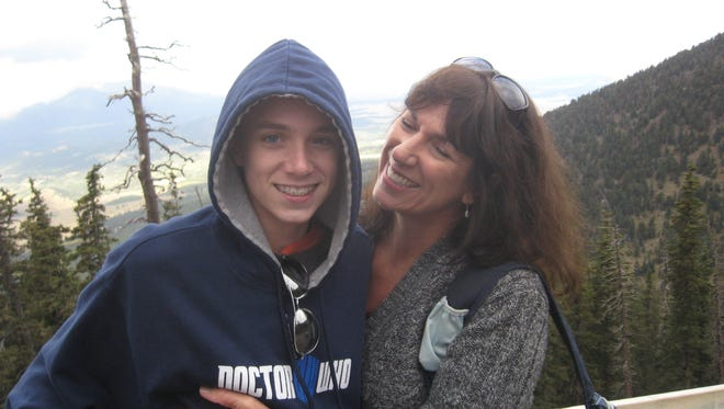 Sawyer and his mom riding the gondola in Flagstaff, Ariz.