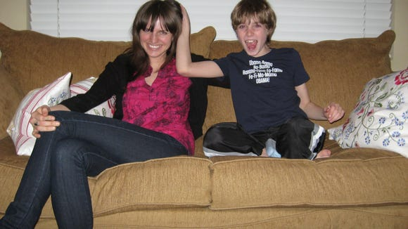Sawyer at 8 wearing his Obama T-shirt with big sister,