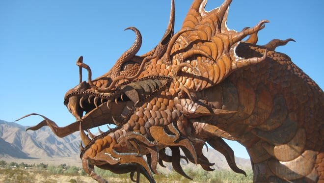 Don't be surprised to see a dinosaur around the countryside of Borrego Springs.