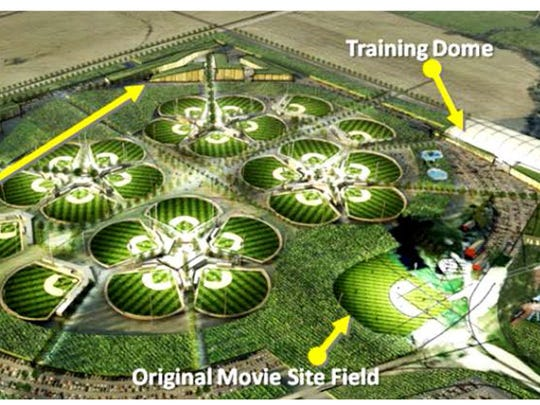 A rendering of the All-Star Ballpark Heaven complex shows how the proposed 24 fields would be built around the original movie site.