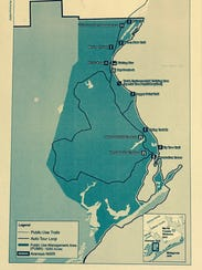 This map shows locations within the refuge where fishing