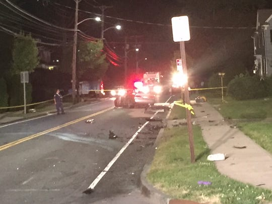 One of the badly damaged cars involved in a serious two-vehicle crash that occurred on Lincoln Avenue in New Rochelle Tuesday, June 21, 2016. Five men were injured, one critically.