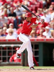 Billy Hamilton of the Cincinnati Reds bats during the