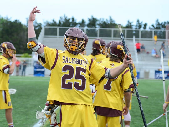 Salisbury's Kyle Tucker celebrates after beating Denison