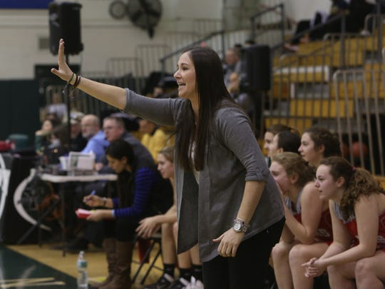 Somers girls basketball head coach Kristi Dini calls a play during a game at Yorktown High School. Jan. 17, 2015.