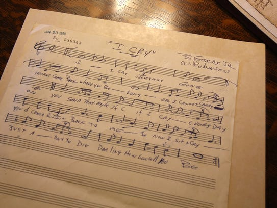"""The sheet music for the song """"I Cry."""" Tonight, Smokey"""