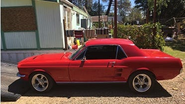 The 1967 Ford Mustang that authorities found when they raided the home of a man on probation Tuesday.