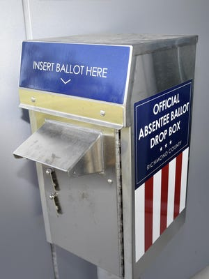 The absentee ballot box outside the Municipal Building in Augusta, Ga., Tuesday afternoon Sept. 22, 2020.  Richmond County will have four box locations.