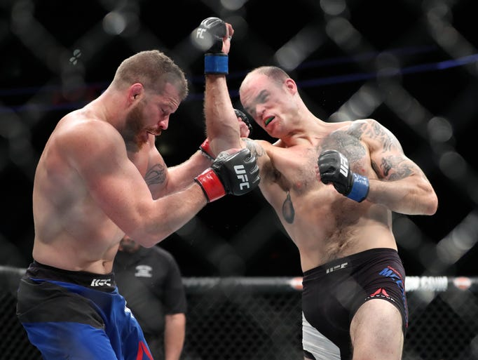 An awesome/classic head-kick KO ended McCrory in the 2nd round. Courtesy PressConnects.com