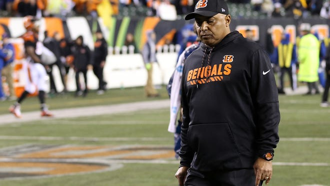 Cincinnati Bengals head coach Marvin Lewis walks off the field after the 23-20 loss to the Pittsburgh Steelers in the in the Week 13 NFL game, Tuesday, Dec. 5, 2017, at Paul Brown Stadium in Cincinnati. Pittsburgh won 23-20.