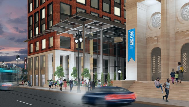 Rendering for the future Detroit West Elm Hotel.