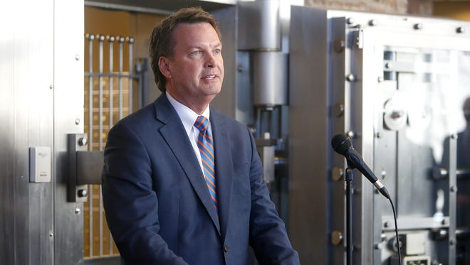 Rob Fulp, CEO of Springfield First Community Bank, soon to be acquired by QCR Holdings Inc., talks about financing a local company's project during a speech given March 21, 2016.