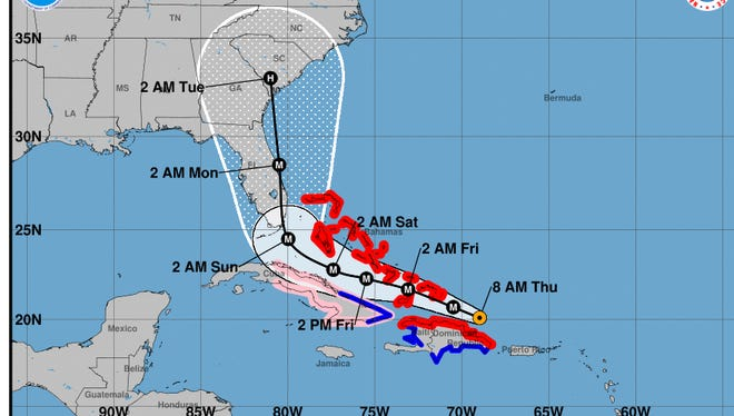 Hurricane Irma forecast track at 8 a.m. September 7, 2017.