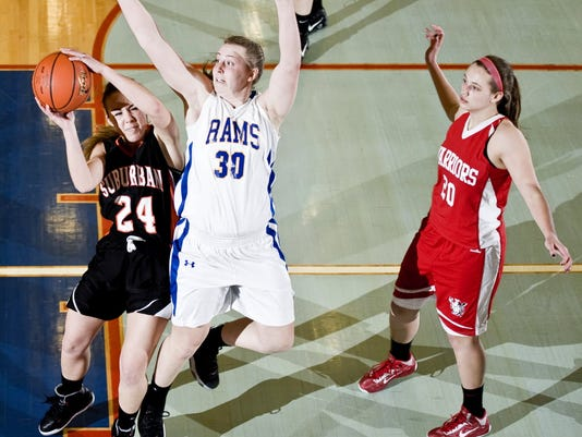 Kennard-Dale grad Sara Tarbert, No. 30 in white, during a senior all-star game in March.