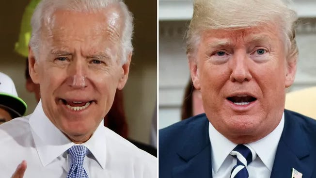 Former Vice President, Joe Biden and President Donald Trump are pictured here. AP
