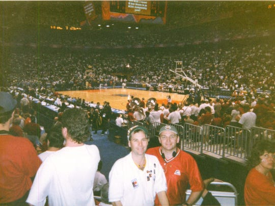 Christopher Korth, left, and Doug Knust in 1998 in San Antonio for their 17th Final Four.