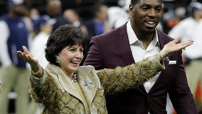 New Orleans Saints owner Gayle Benson is introduced before the NFL football NFC championship game against the Los Angeles Rams, Sunday, Jan. 20, 2019, in New Orleans. (AP Photo/David J. Phillip)