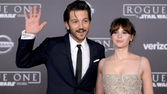 The world premiere of 'Rogue One: A Star Wars Story' is taking place in a galaxy not so far, far away (aka Hollywood). The new standalone 'Star Wars' movie hits theaters this week. Diego Luna (who plays Cassian Andor) and Felicity Jones (as heroine Jyn Erso) arrive on the red carpet Saturday night at Pantages Theatre in Los Angeles.