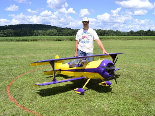Tony Steiner, from Cortland, with his jet engine airplane