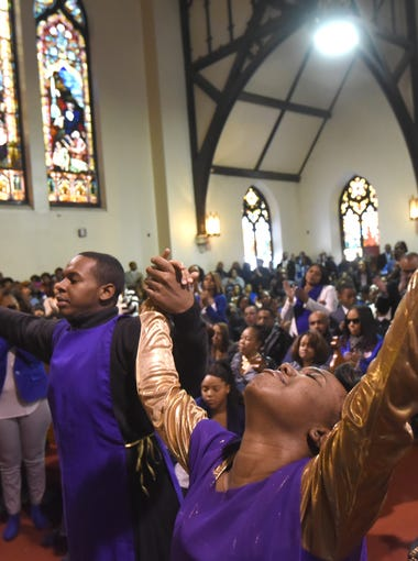 Praise dancing was performed by Nate Plummer Jr.'s cousins at his funeral at Tabernacle of Faith Church in Camden Monday.  From left to right: Tamia Sturgis-Davis, Charleston Clark, and Maya Miller.