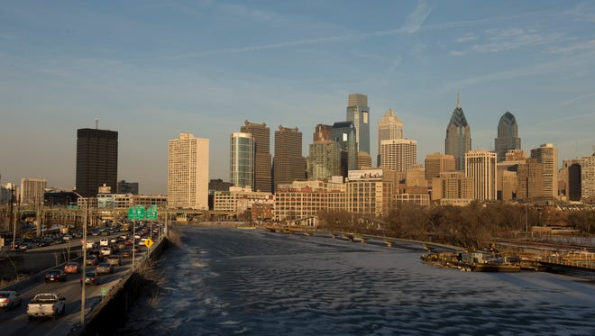 A view of the Philadelphia skyline and the Schuylkill River.