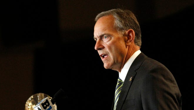 Michigan State head coach Mark Dantonio speaks to the media at the Big Ten NCAA college football media days, Tuesday, July 26, 2016 in Chicago.