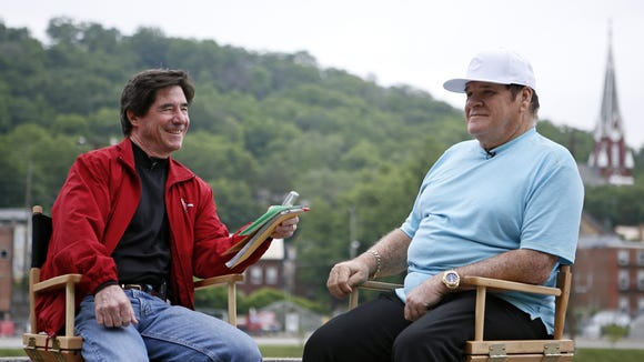 Pete Rose reminisces with Enquirer columnist Paul Daugherty at Bold Face Park in Sedamsville on June 2.