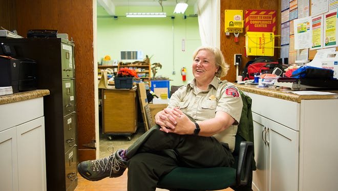 Supervisor Susan Fay is the other component of the two-woman team that runs Holmes State Educational Forest, located in Henderson County just outside DuPont State Recreational Forest. Fay lives in a cabin with her husband on the forest property and has been the supervisor for five years. Along with Amy Kinsella, they perform all operational tasks- clerical work, promoting, maintenance, giving tour and more.