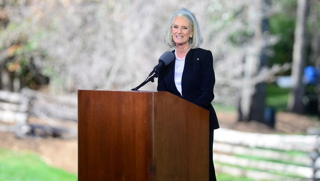 Anne Graham Lotz, daughter of Billy Graham, offers a family tribute during the private funeral service for Billy Graham in a tent outside the Billy Graham Library in Charlotte, N.C. on Friday, March 2, 2018. Lotz announced she has been diagnosed with breast cancer.