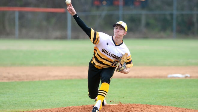 Murphy's Caleb Irwin throws a pitch during their game at Rosman High School on Friday, March 16, 2018. The Bulldogs defeated the Tigers 18-3.