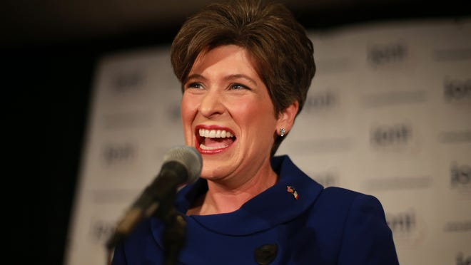 U.S. Sen.-elect Joni Ernst addresses supporters Nov. 4 at the Marriott Hotel in West Des Moines after her victory over Bruce Braley.