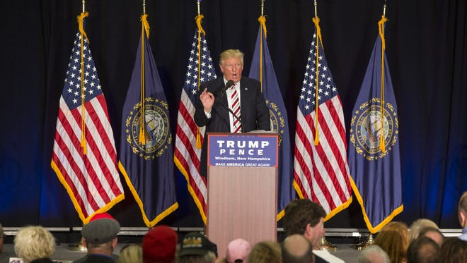Donald Trump speaks during a rally at Windham High School on Aug. 6, 2016, in Windham, N.H.