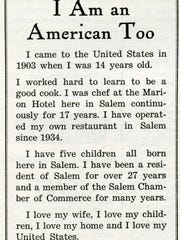 An advertisement was taken out by Frank Tanaka in December 1941 edition of the Oregon Magazine declaring his patriotism.